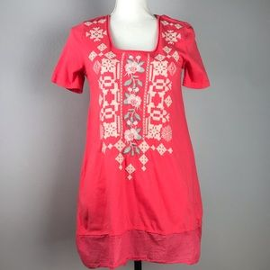 Johnny Was T-shirt Tunic Size XS Square Neck Coral
